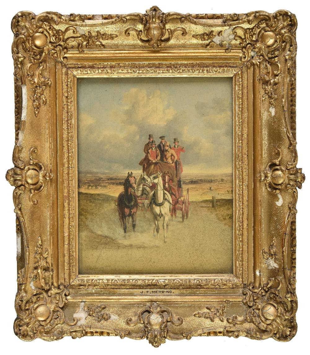 Lot 40 - *Herring (John Frederick, Senior, 1795-1865). The Royal Mail Coach on the Road, 1839, oil on wood