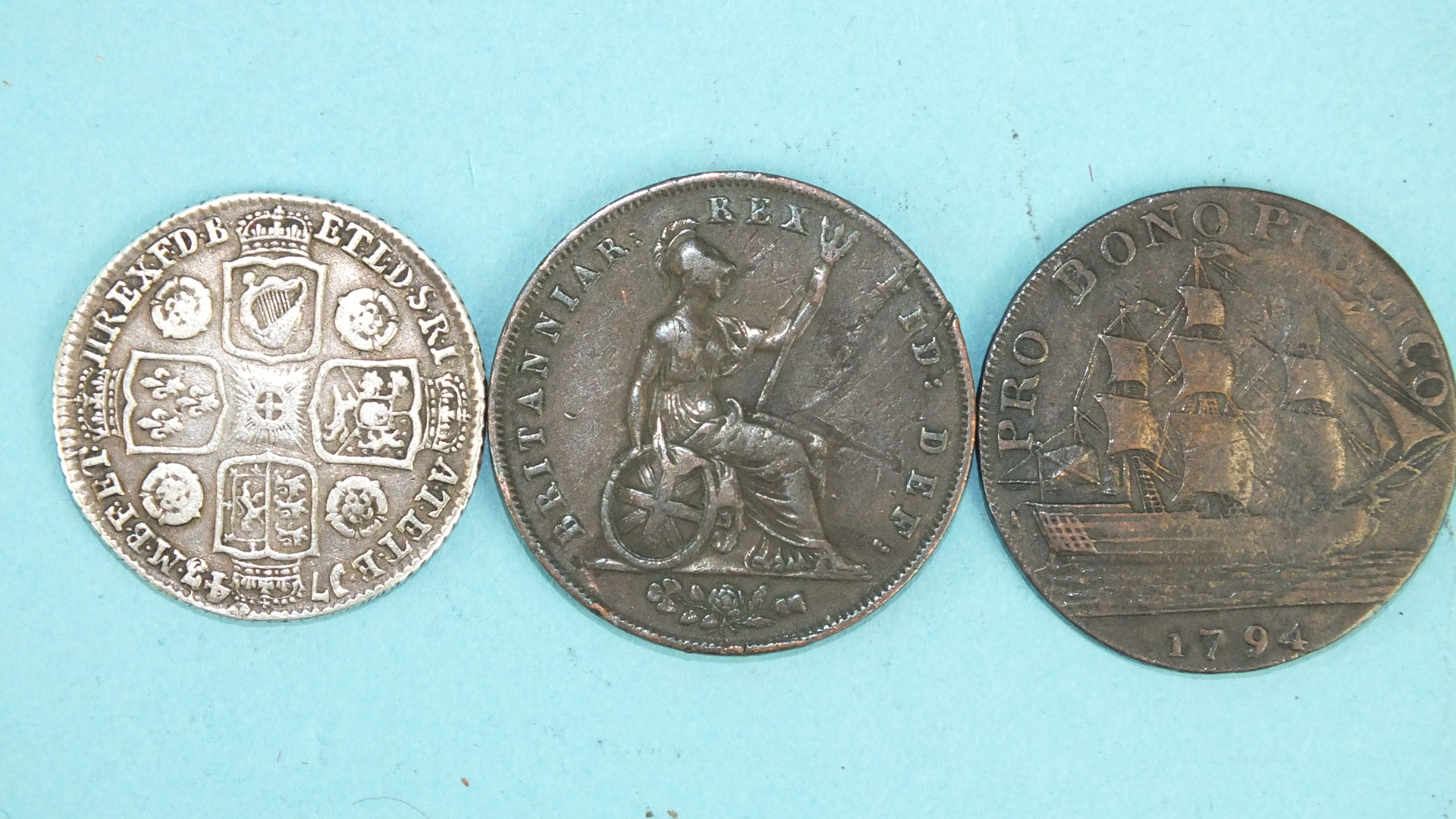 Lot 43 - A George II 1743 shilling, a George IV 1827 half-penny and a 1794 Gosport Promissory half-penny