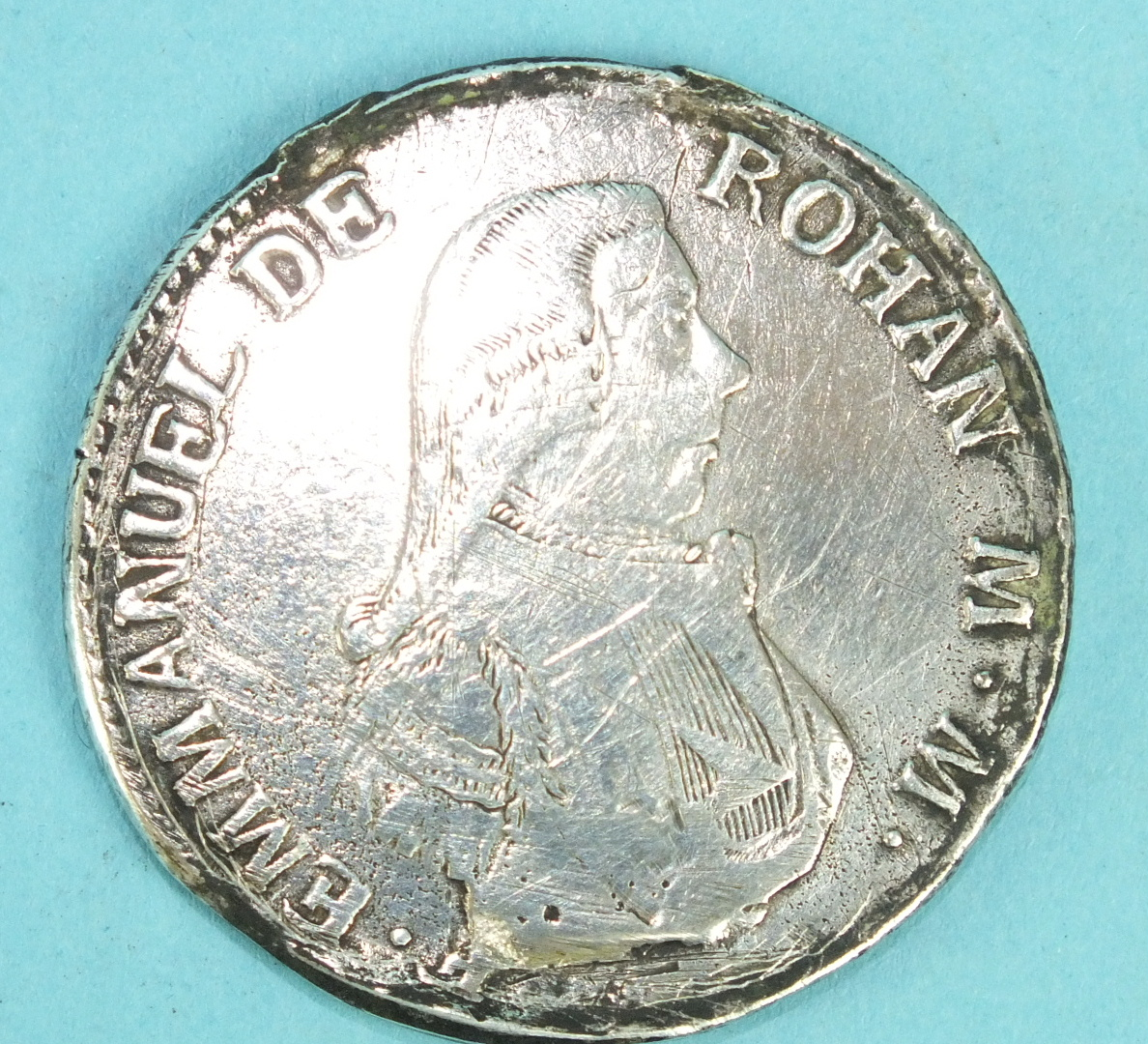Lot 54 - A 1796 Emmanuel De Rohan 2-Scudi Malta silver coin.
