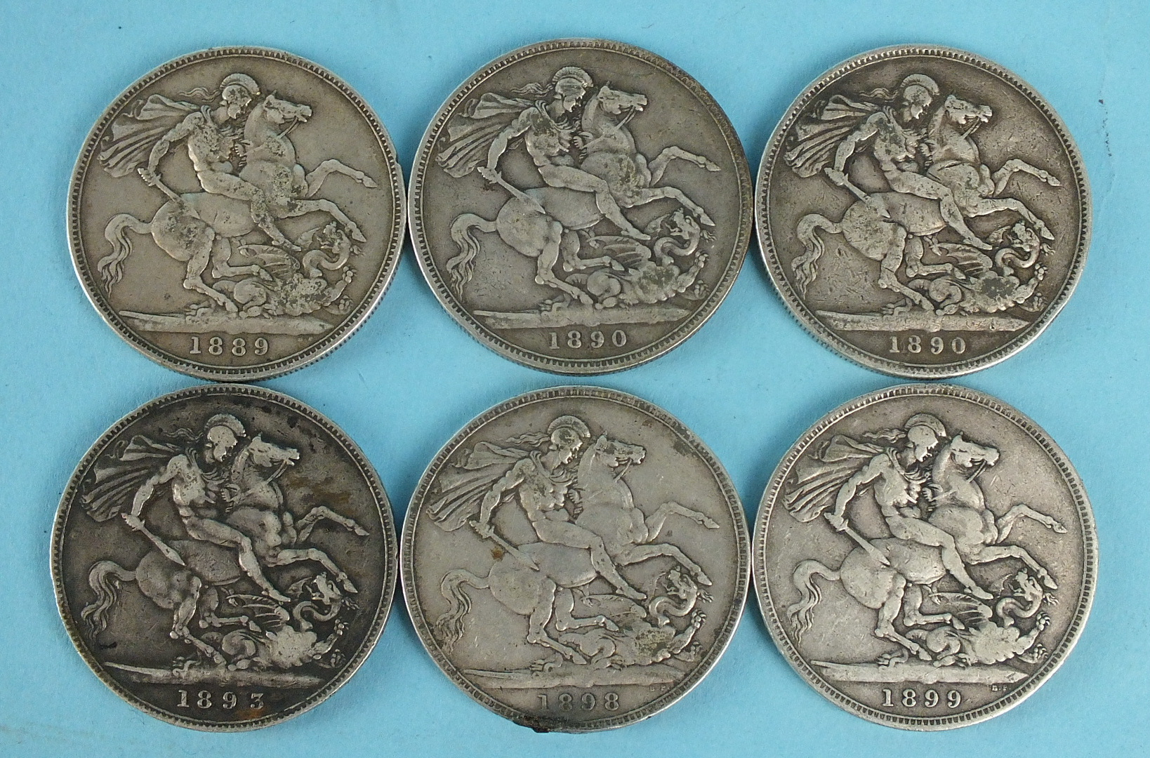 Lot 39 - A collection of six Victorian crowns: 1889, 1890x2, 1893, 1898, 1899, (6).