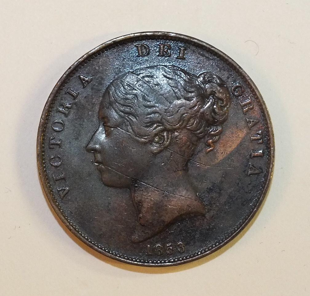 Lot 42 - A Queen Victoria 1853 copper penny.