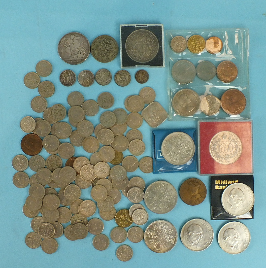 Lot 49 - A George IV 1821 crown and a small collection of other British coinage.