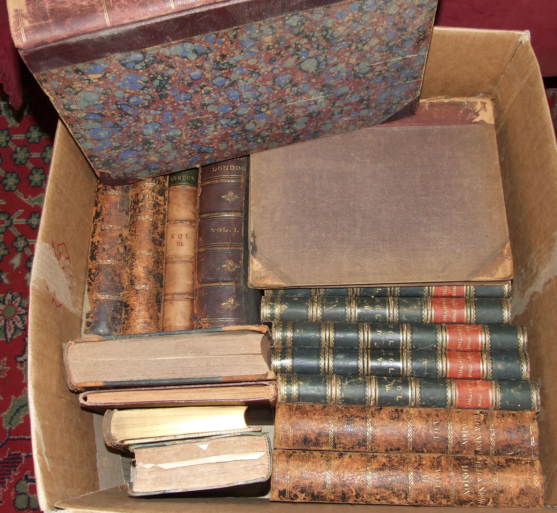 Lot 75 - A quantity of 19th century leather-bound books, various.