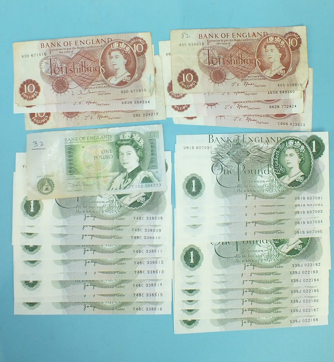 Lot 45 - A collection of twenty-one Series 'C' Portrait Issue JB Page £1 notes, uncirculated, U81B 607091-95,