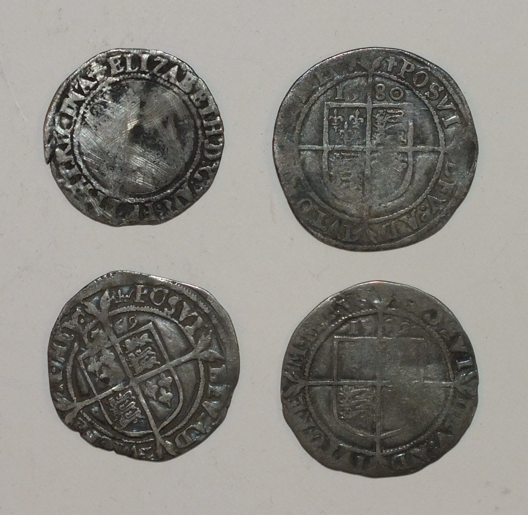 Lot 41 - A collection of four Queen Elizabeth I silver hammered coins, including a 1569 sixpence, 2x 1580
