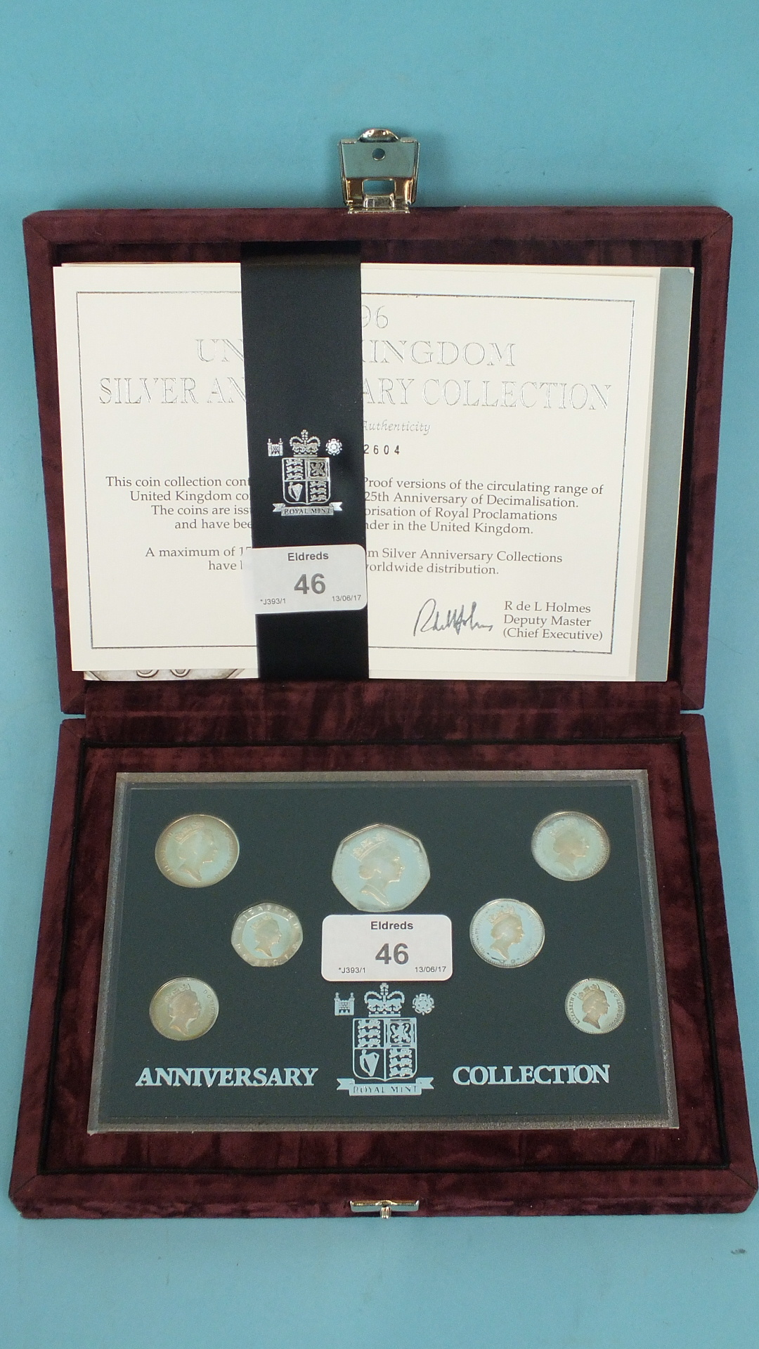 Lot 46 - A Royal Mint 1996 United Kingdom Silver Anniversary Collection of seven coins with certificate of