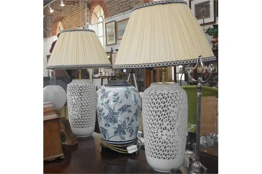 Asian Style Pierced Ceramic Table Lamps