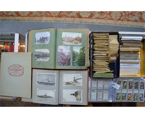 A good collection of vintage postcards including humour, military, novelty, greetings, topography, warships, etc., to/w a qua