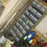 LOT OF 27 PLASTIC TOTES W/SOCKETS, 2 BUCKETS W/SOCKETS AND METAL 9 LEVEL SHELVING UNIT (UPPER TOOL C