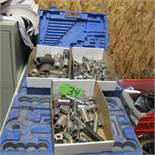 LOT OF 3 BOXES OF SOCKETS AND 2 CASES (UPPER TOOL CRIB)