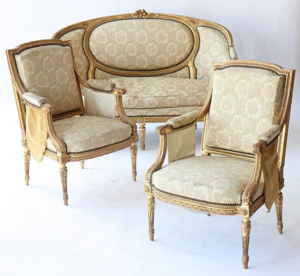 Salon Style Louis 16 ensemble de salon en bois dore de style louis xvi composé d&#39