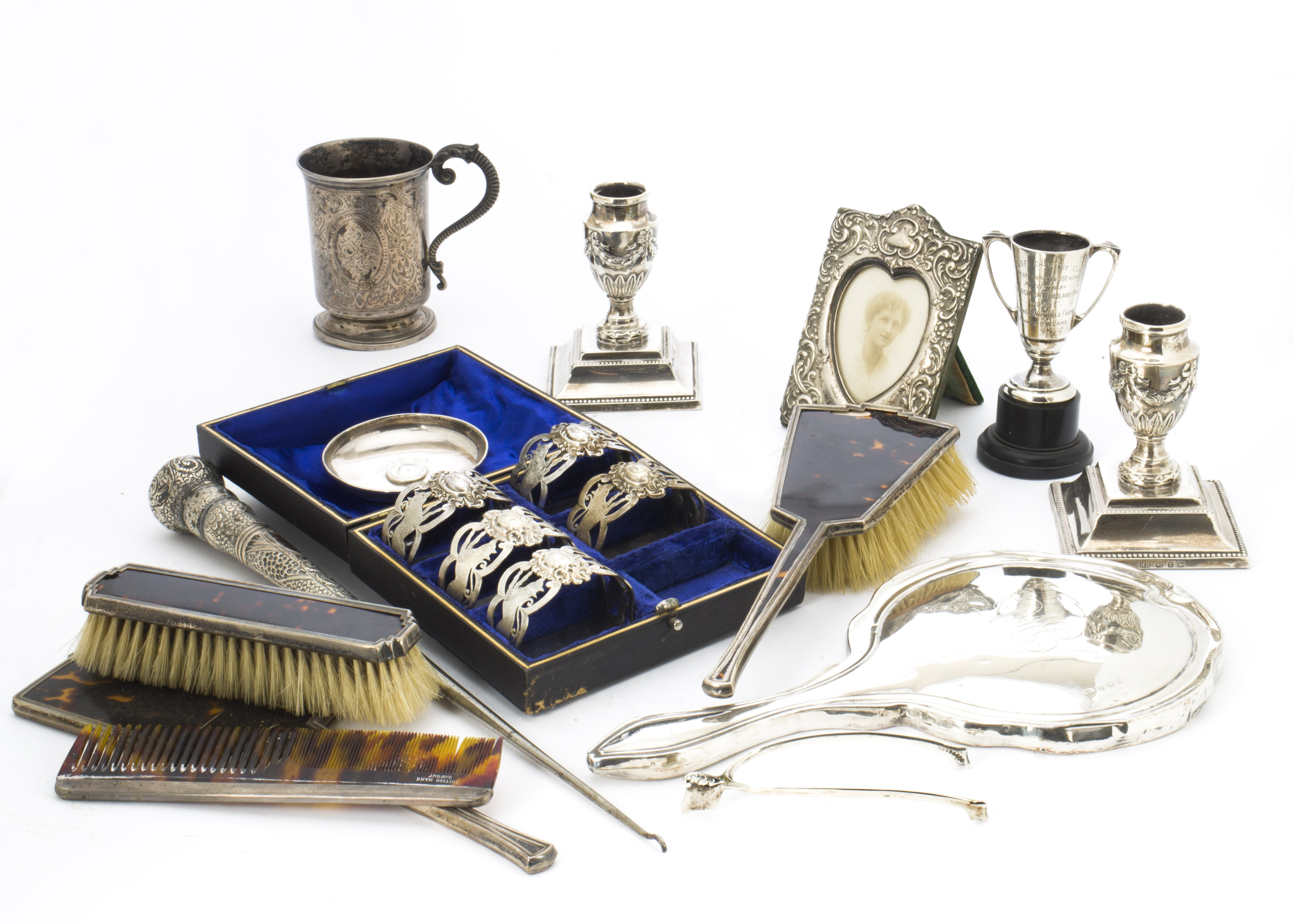 Lot 51 - A collection of Victorian silver and later collectables, including Christening tankard, a pair