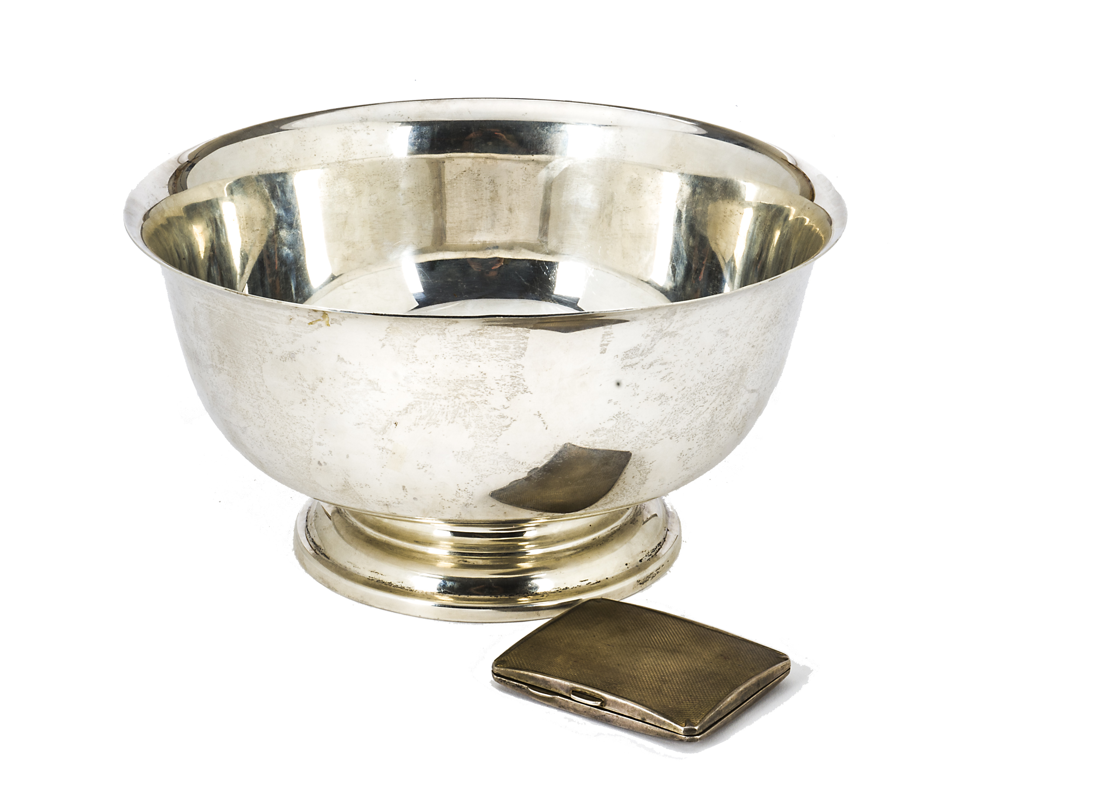 Lot 23 - An Art Deco style American silver footed bowl by Shrene & Co, plain body, marked to base Shrene & Co
