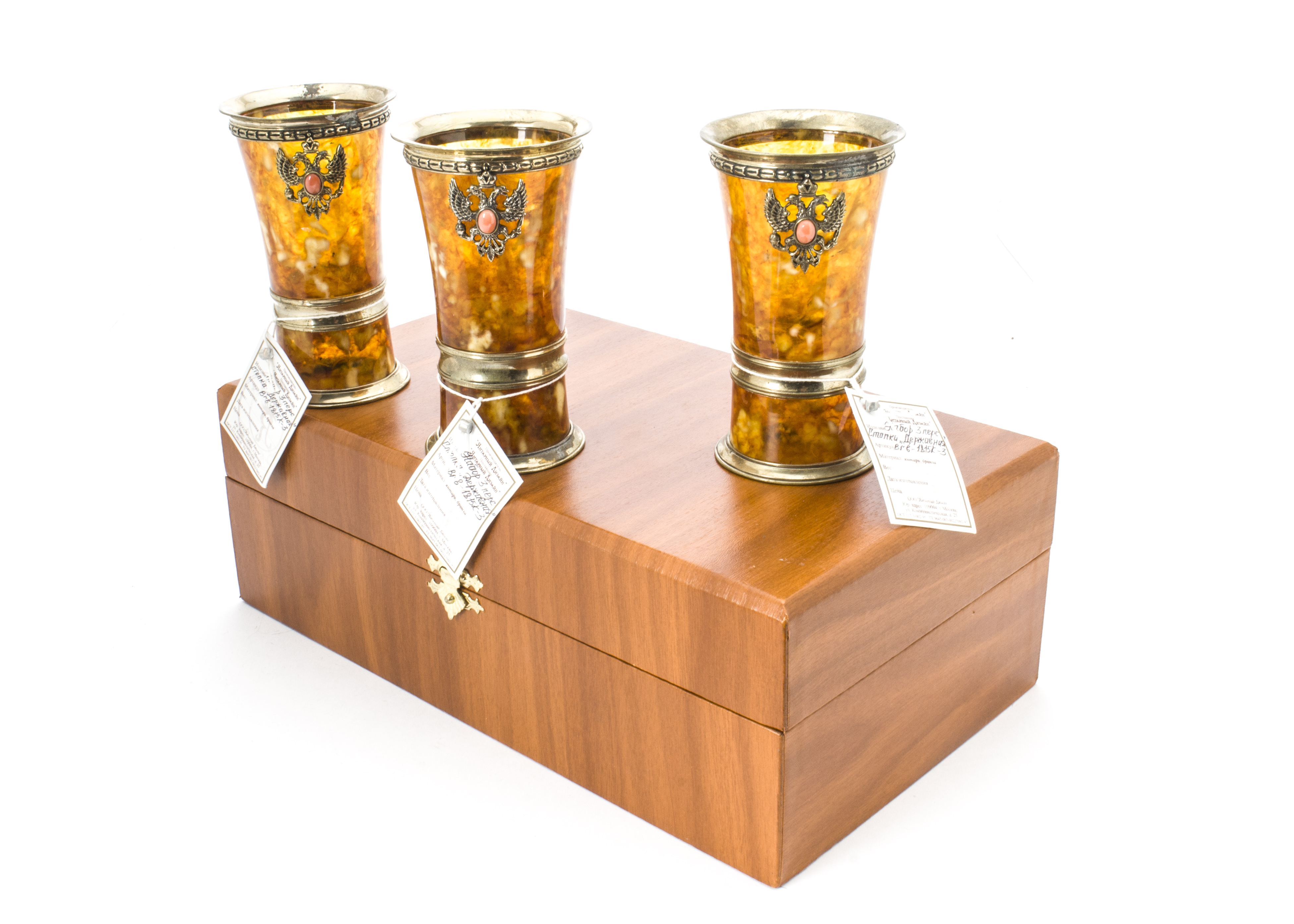 Lot 53 - A set of three modern Russian beakers, in box, probably from the Amber Palace, each with gilt mounts