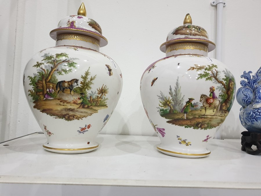 Pair of Dresden porcelain baluster vases and domed covers, circa 1900, blue conjoined AR - Image 15 of 16