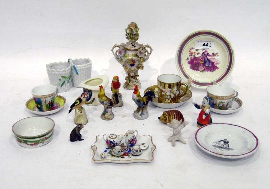 19th Century Dresden style porcelain miniature coloured vase floral encrusted, miniature porcelain