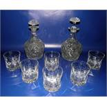 Set of six cut glass heavy tumblers with ovolo decoration and two cut glass spirit decanters (8)