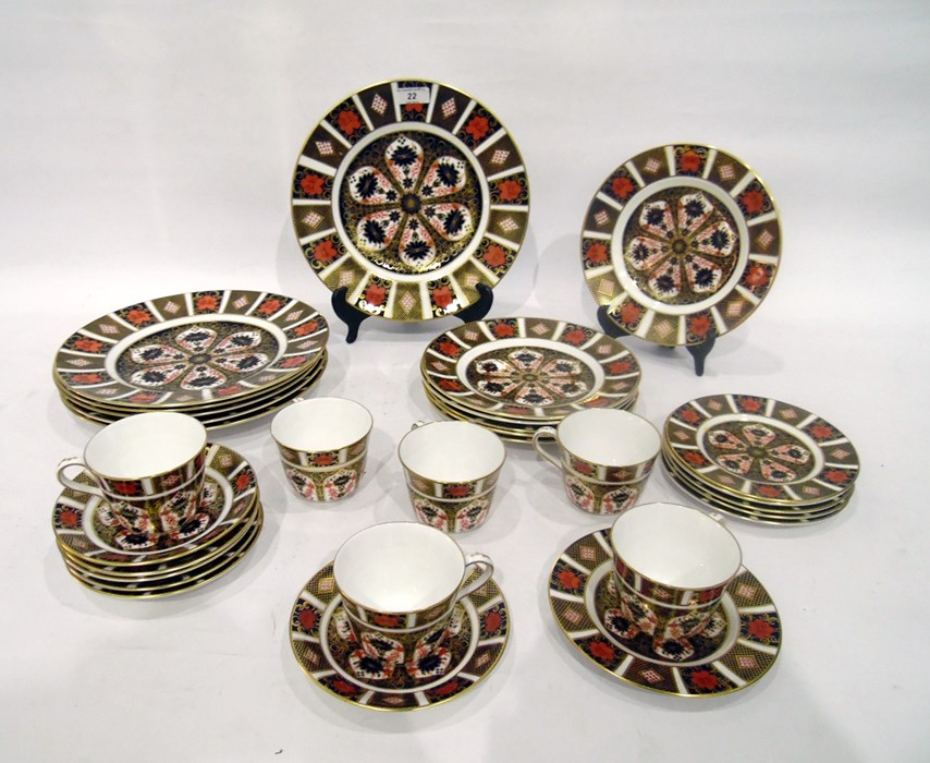 Royal Crown Derby Imari pattern part tea-service, 20th century, printed crowned iron-red marks,