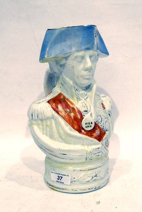 """19th century Staffordshire pottery jugof Nelson(?) in uniform with """"Nile"""" and other medals, 27cm"""