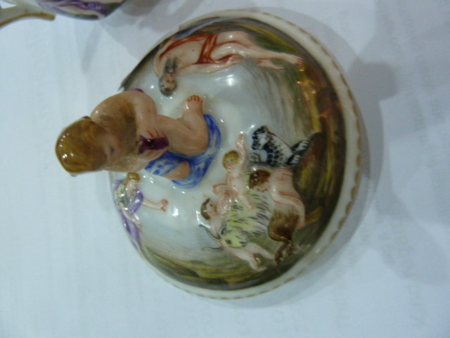 19th century Capodimonte two handled chocolatecup and cover,allover embossed and painted with - Image 8 of 9