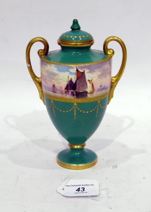 Mintons two handled porcelain vase on cover shouldered ovoid with frieze painted with sailing