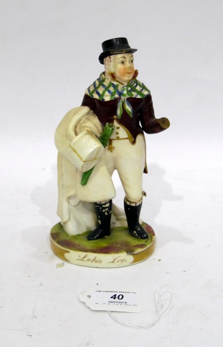 Rockingham Porcelain Theatrical Figure The comic actor John Liston as Lubin Log, after an - Image 2 of 8