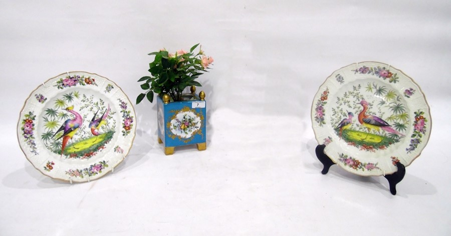 Continental porcelain Sevres-style jardiniere, 20th century, printed and painted with bouquets of
