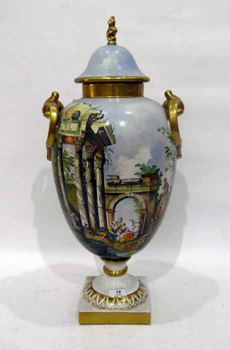 Batignani majolica two-handled oviform vase and cover, 20th century, painted marks, painted in the