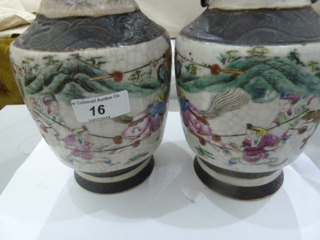 Pair of Chinese porcelain vases with simulated bronze beast handles, painted with battle scenes, - Image 29 of 30