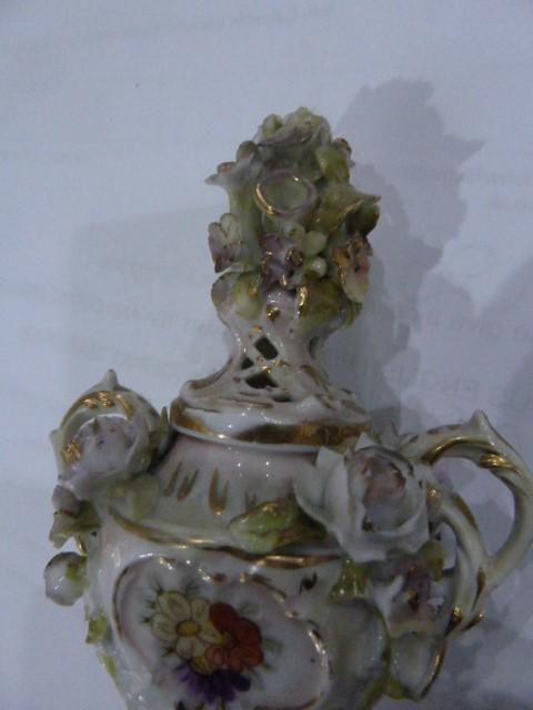 19th Century Dresden style porcelain miniature coloured vase floral encrusted, miniature porcelain - Image 5 of 5