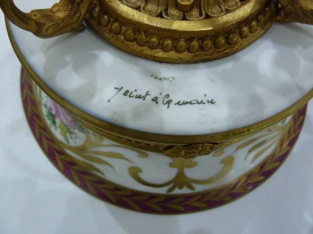 Limoges porcelain gilt-metal mounted tazza, 20th century, printed and painted marks, painted with - Image 4 of 5
