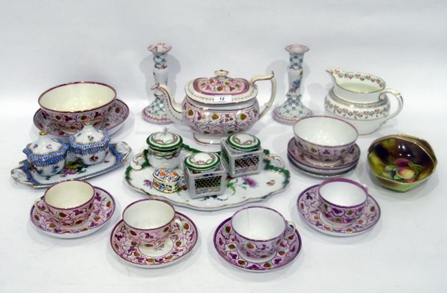 Staffordshire pottery part tea service painted with strawberries and purple lustre vine,