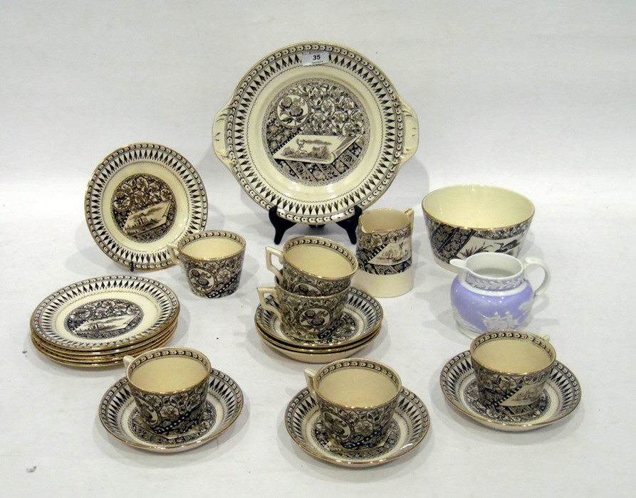 English pottery 'Canterbury' pattern part tea-service, late 19th century, printed brown registration