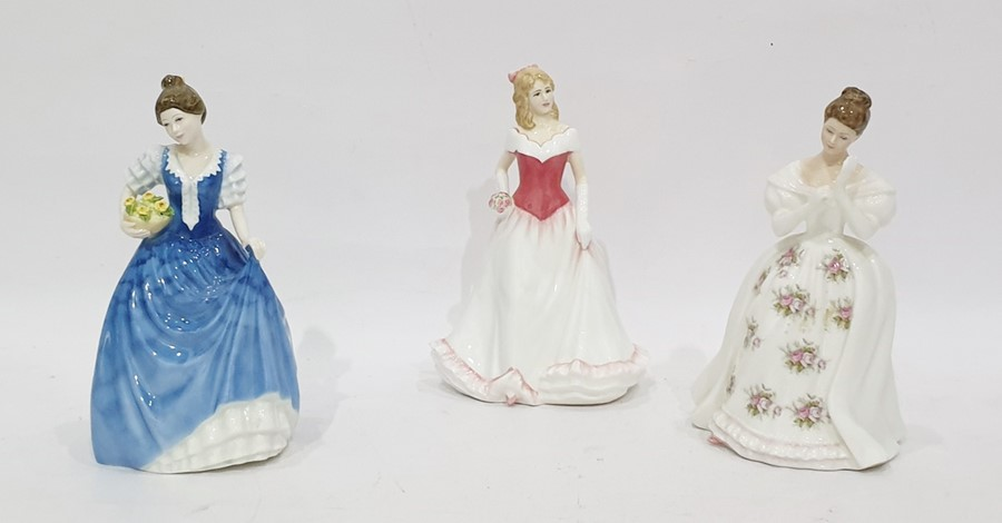 Three Royal Doulton figurescomprising: Alice, HN4111, Helen, HN3601, both modelled by M.M. Pedley