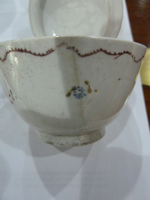 19th century Capodimonte two handled chocolatecup and cover,allover embossed and painted with - Image 4 of 9