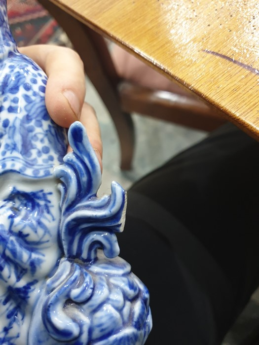 Chinese porcelain blue and white figure of a guanyin on a pierced wooden lotus leaf base, - Image 13 of 14