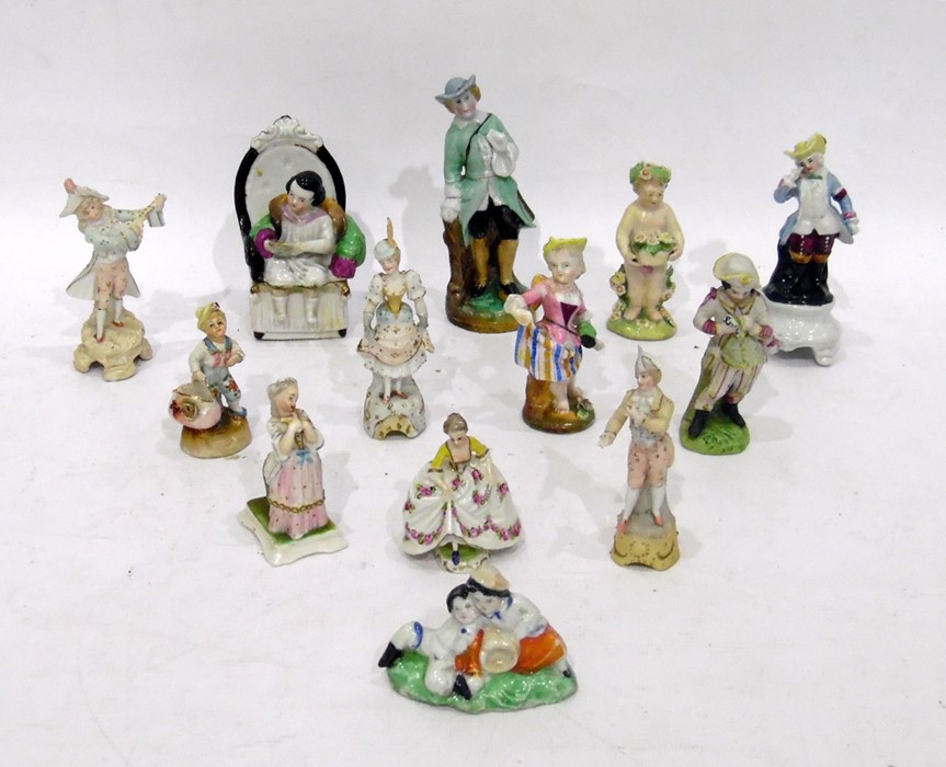 Quantity 19th century and later porcelain figures and miniature figure including porcelain figure of