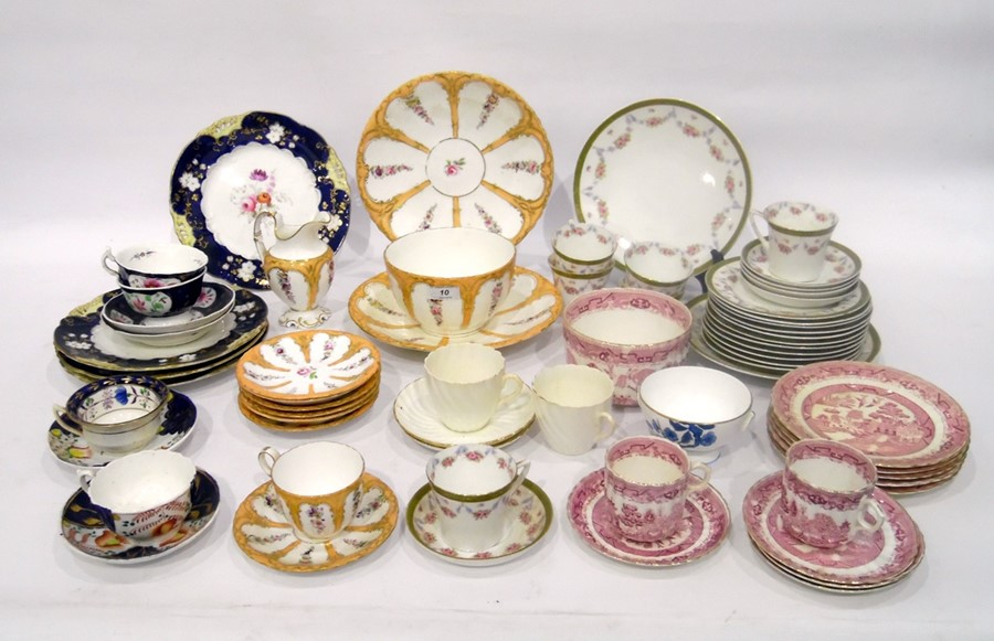 Various English porcelain part tea and coffee services, to include an apricot-ground service with