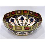 Royal Crown Derby Old Imari pattern octagonal bowl pattern number 1128 with Roman numerals to base
