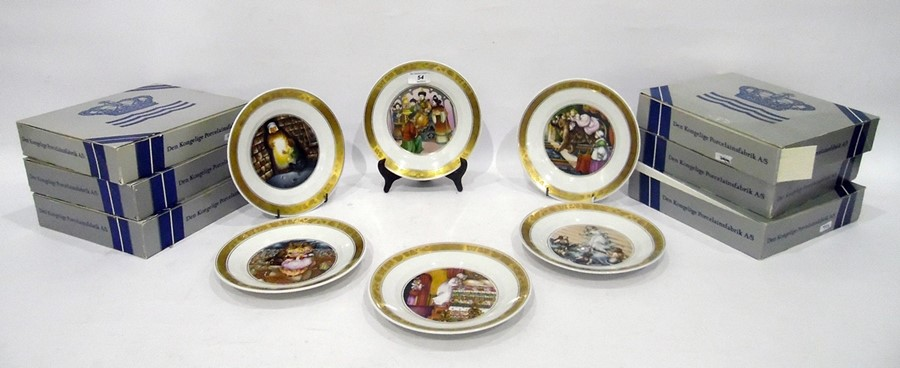 Six Royal Copenhagen collectors platesin boxes, to include Hans Christian Andersen plate 'The