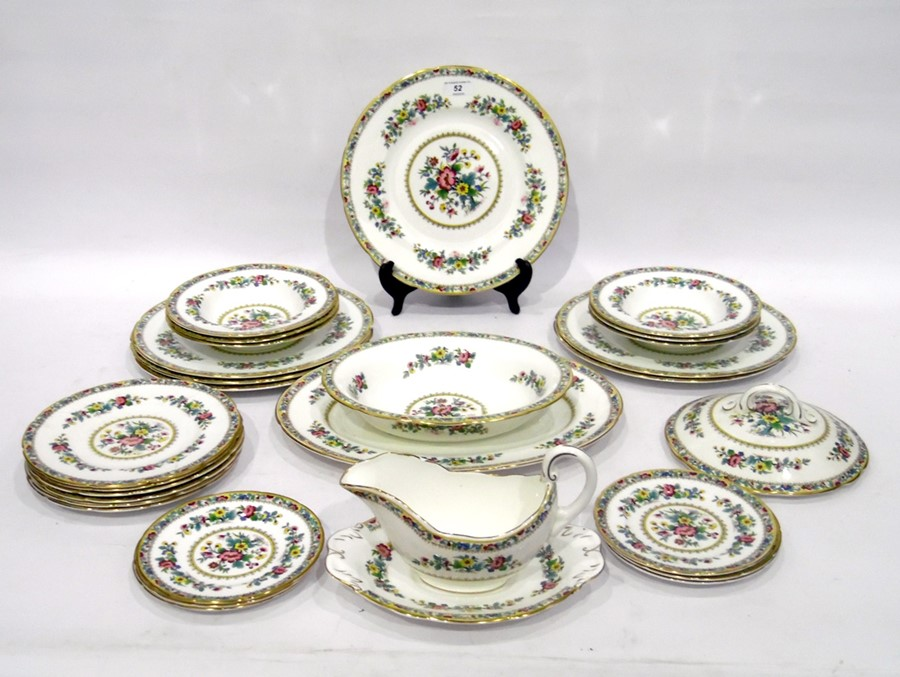 A Coalport 'Ming Rose' pattern part dinner-service, for six people, 20th century, printed blue