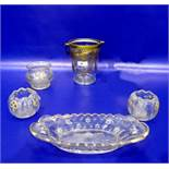 Giltice bucket with floral inscribed decoration,three posy bowls anda moulded oval dish with