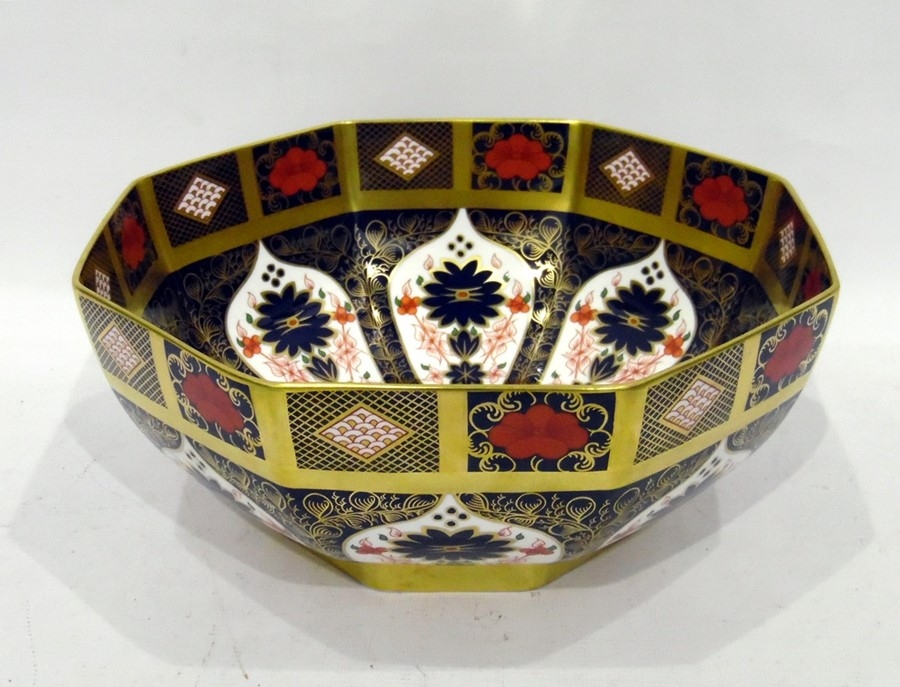 Royal Crown Derby Old Imari pattern octagonal bowl number 1128 2003, 30cm diameter
