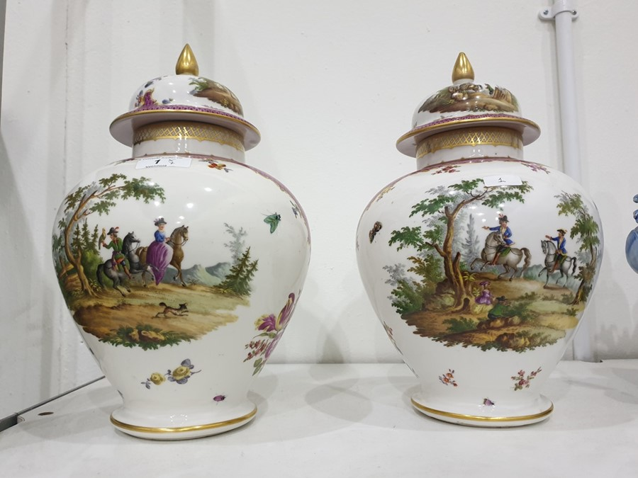 Pair of Dresden porcelain baluster vases and domed covers, circa 1900, blue conjoined AR - Image 14 of 16