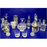 Large cut glass vase, serrateddecoration, a cut vasewith foliate scalloped edge, a quantity of cut