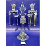 Regency-style cut-glass candelabrum with pair scroll branches, prismatic cluster drops to the
