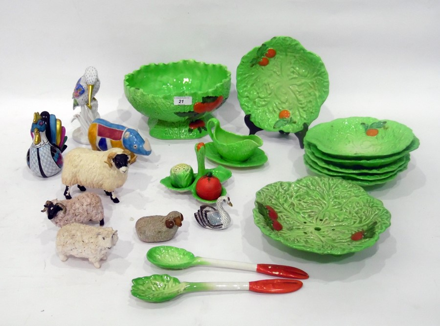 Carlton Ware majolica green-glazed part salad service, leaf and tomato-moulded, to include: a footed