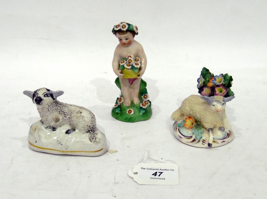 Staffordshire pottery model sheep with floral bocage, another pottery model sheep and aporcelain
