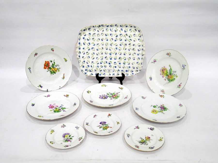 Bing & Grondahl part dinner-service, painted with flowers within scale-moulded borders, including