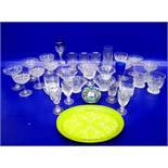 Quantity stemmed wines, cut glass champagne, millefiori glass paperweight,gilt liqueur bottle and